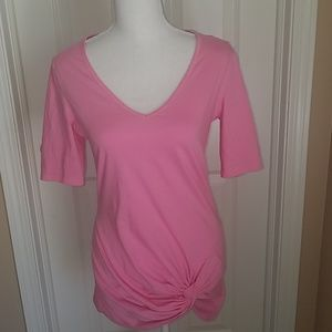 Women's Moda Int pink short sleeved high low tee